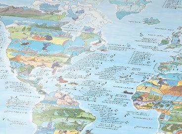 Awesome maps illustrated world map posters canvases kitesurf map gumiabroncs Choice Image
