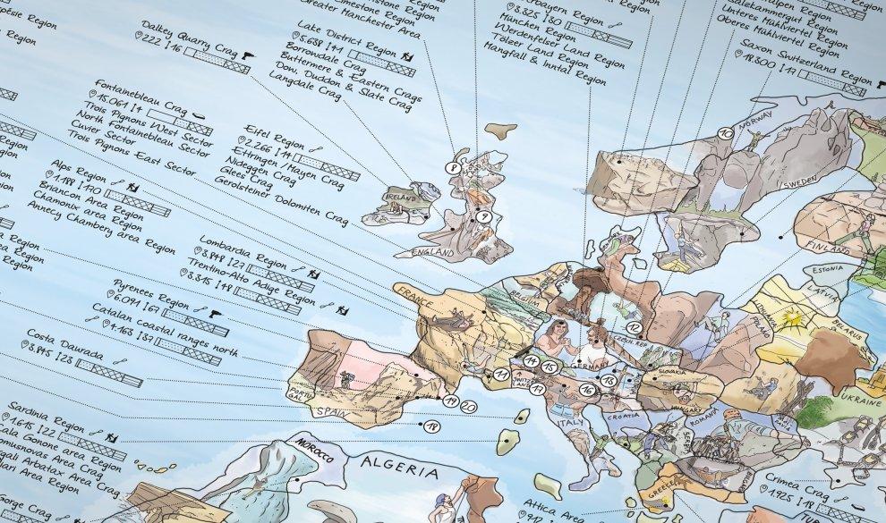 Climbing Map Illustrierte Weltkarte Mit Den Besten