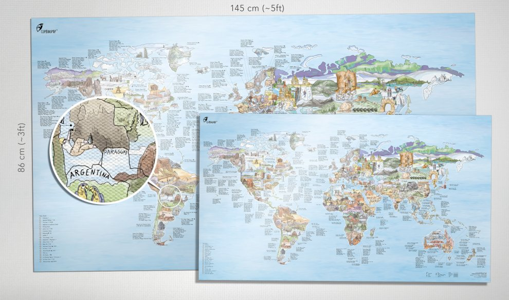 Climbing map illustrated world map with the best climbing areas climbing map gumiabroncs Gallery