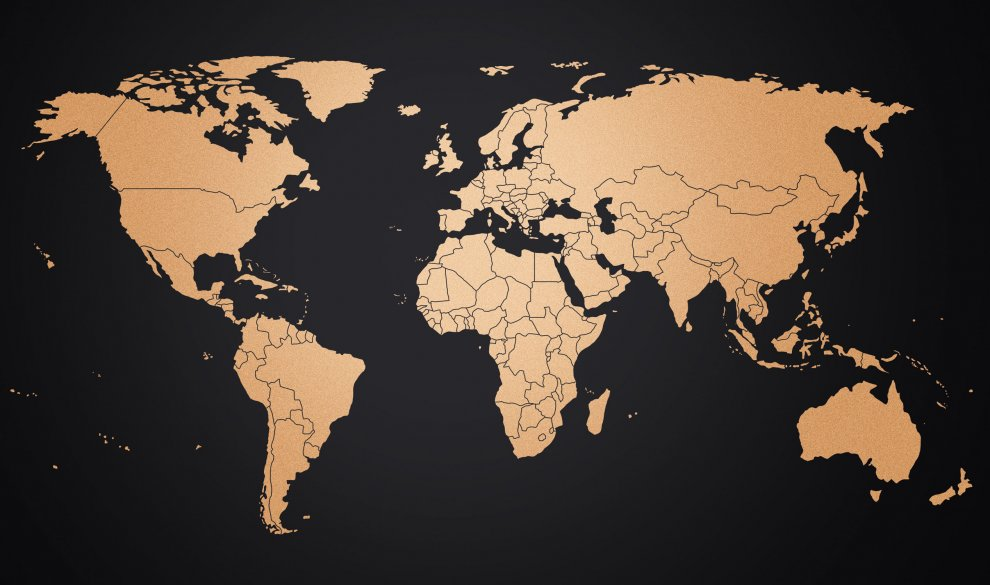 Copper Design World Map