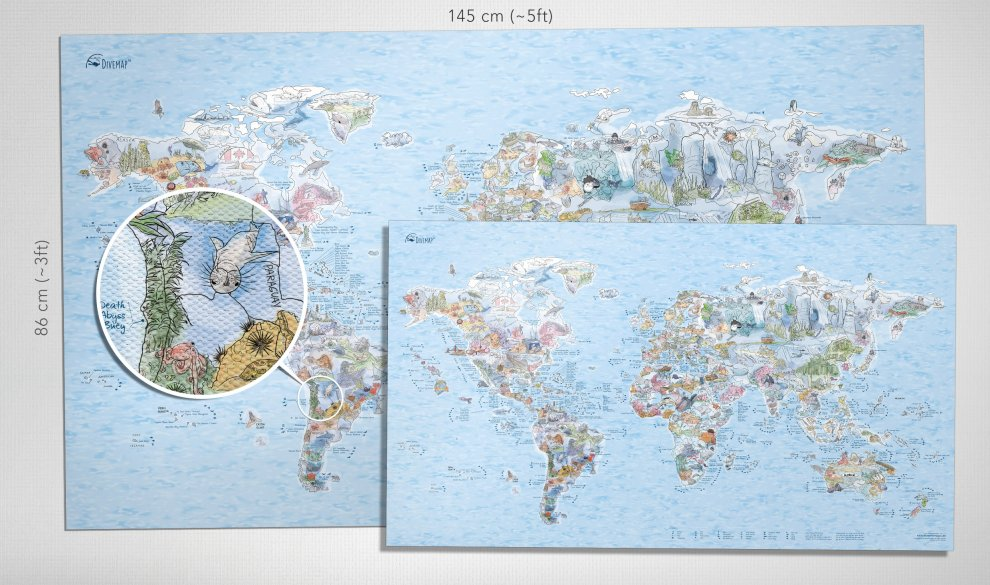Dive Map XXL Leinwand