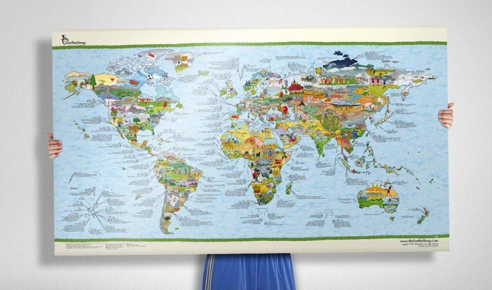 Wer braucht eigentlich eine Weltkarte über Fußball? Jeder! Denn nur eine Fußballweltkarte kann dir auf einen Blick alles zu Nationalteams, Fußballgeschichte und Fußballkuriositäten verraten!