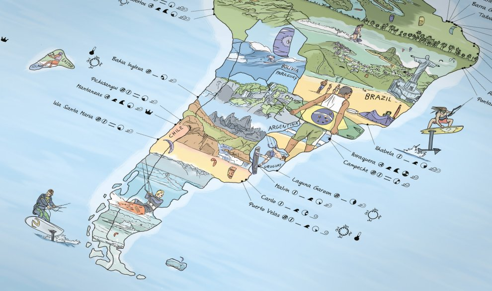 Kitesurf Map Illustrierte Weltkarte Mit Den Besten