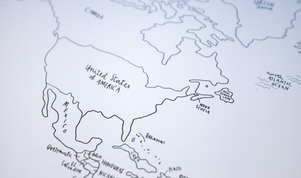 Sketch Map Typography Design World Map - Us map sketch