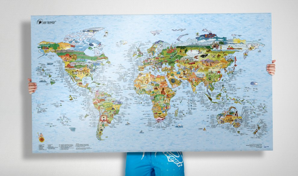 Surftrip Map | The Best Surf Spots on a World Map Poster