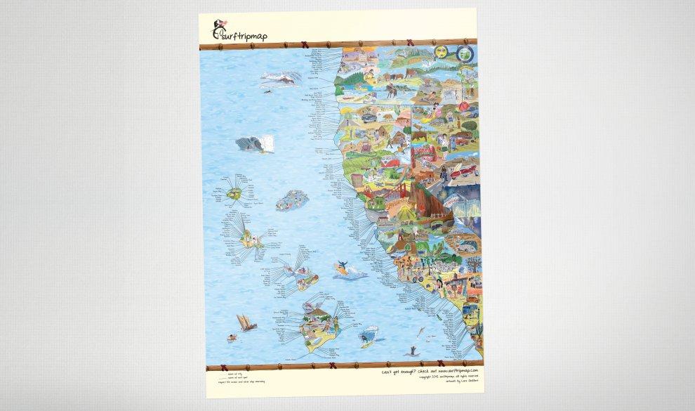 West Coast Map XXL Leinwand